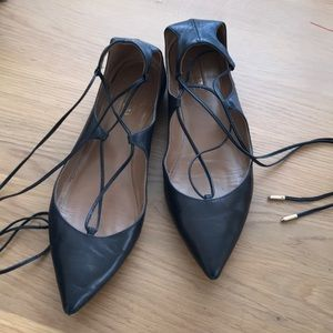 Aquazzura christy lace up flats size 40 1/2